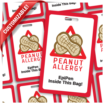 "Peanut Allergy - 2.125"" x 3.375"" with Slot"